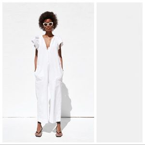 NWT. Zara White Rustic Jumpsuit. Size XS.
